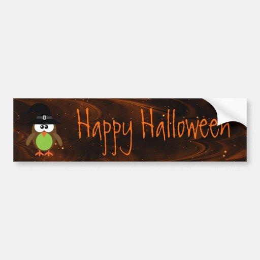 Cute Cartoon Owl Happy Halloween Magical Sky Bumper Sticker
