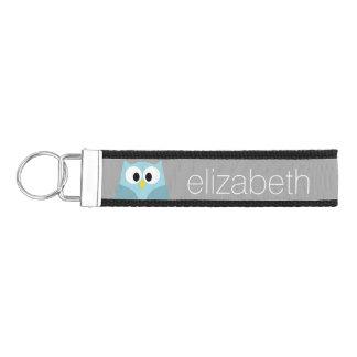 Cute Cartoon Owl in Blue and Gray Wrist Keychain