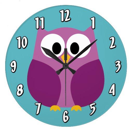Cute Cartoon Owl in bright colors Clock