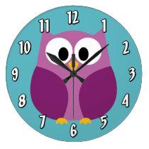 Cute Cartoon Owl in bright colors Large Clock