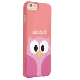 Cute Cartoon Owl in Pink and Coral Barely There iPhone 6 Plus Case