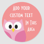 Cute Cartoon Owl in Pink and Coral Classic Round Sticker