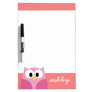 Cute Cartoon Owl in Pink and Coral Dry-Erase Board