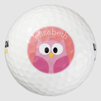 Cute Cartoon Owl in Pink and Coral Golf Balls