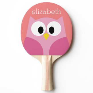 Cute Cartoon Owl in Pink and Coral Ping-Pong Paddle