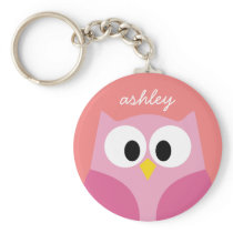Cute Cartoon Owl in Pink and Coral Keychain