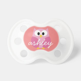 Cute Cartoon Owl in Pink and Coral Pacifier