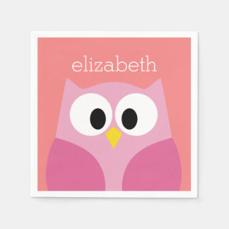 Cute Cartoon Owl in Pink and Coral Paper Napkin