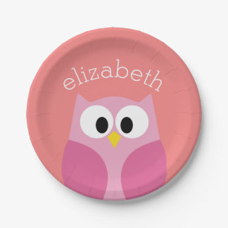 Cute Cartoon Owl in Pink and Coral Paper Plate