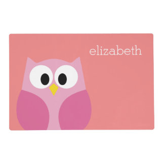 Cute Cartoon Owl in Pink and Coral Placemat