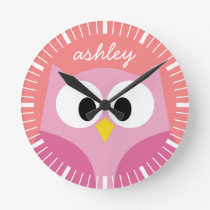 Cute Cartoon Owl in Pink and Coral Round Clock