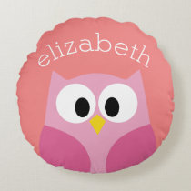 Cute Cartoon Owl in Pink and Coral Round Pillow