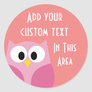 Cute Cartoon Owl in Pink and Coral Round Stickers