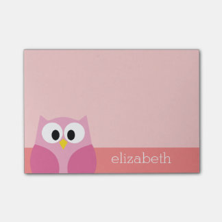 Cute Cartoon Owl in Pink and Coral Post-it® Notes