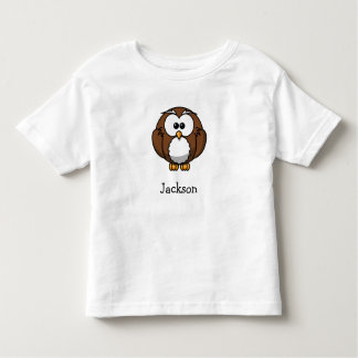 Cute cartoon owl personalized with childs name toddler t-shirt