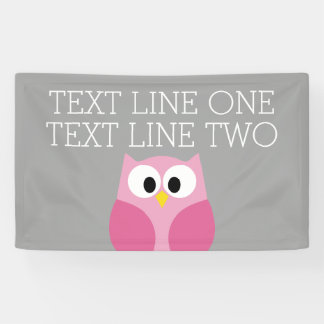 Cute Cartoon Owl - Pink and Gray Custom Name Banner