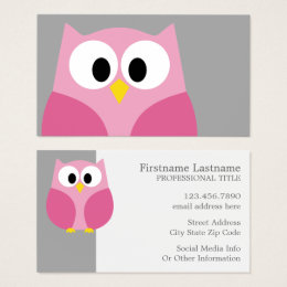 Cute girly kawaii business cards templates zazzle cute cartoon owl pink and gray custom name business card colourmoves