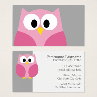 Cute Cartoon Owl - Pink and Gray Custom Name Business Card