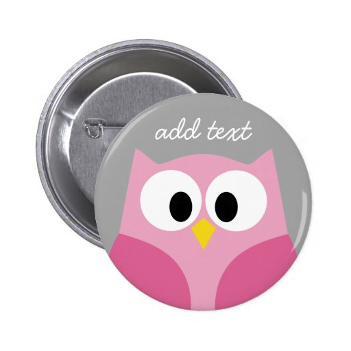 Cute Cartoon Owl - Pink and Gray Custom Name 2 Inch Round Button