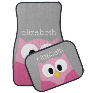 Cute Cartoon Owl - Pink and Gray Custom Name Car Mat