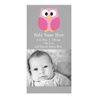 Cute Cartoon Owl - Pink and Gray Custom Name Card