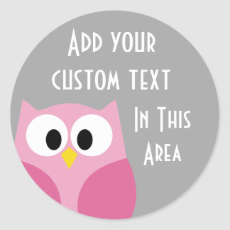 Cute Cartoon Owl - Pink and Gray Custom Name Classic Round Sticker
