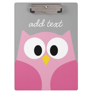 Cute Cartoon Owl - Pink and Gray Custom Name Clipboards