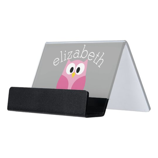 Cute Cartoon Owl Pink And Gray Custom Name Desk Business Card Holder