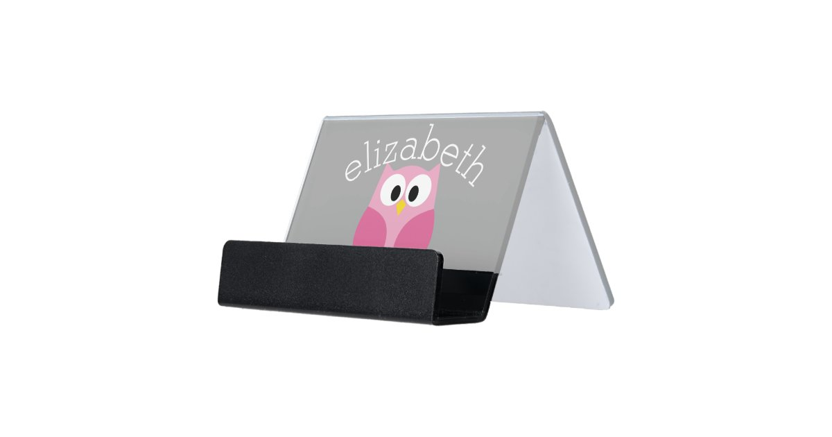 Cute Cartoon Owl Pink And Gray Custom Name Desk Business Card Holder Zazzle Com