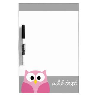 Cute Cartoon Owl - Pink and Gray Custom Name Dry-Erase Whiteboards