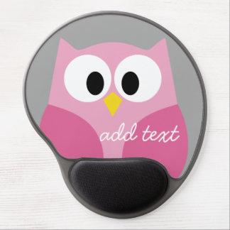 Cute Cartoon Owl - Pink and Gray Custom Name Gel Mouse Pad