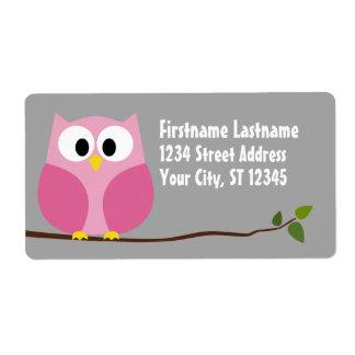 Cute Cartoon Owl - Pink and Gray Custom Name Label