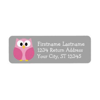 Cute Cartoon Owl - Pink and Gray Custom Name Return Address Label