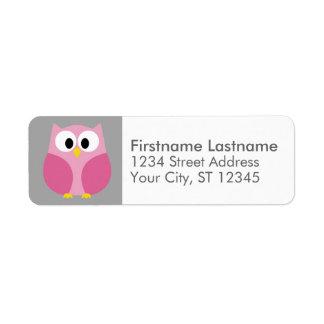 Cute Cartoon Owl - Pink and Gray Custom Name Label