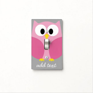 Cute Cartoon Owl - Pink and Gray Custom Name Light Switch Covers