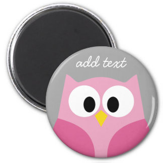 Cute Cartoon Owl - Pink and Gray Custom Name Magnet