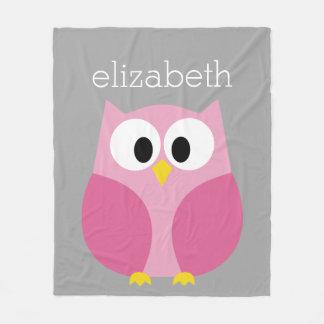 Cute Cartoon Owl - Pink and Gray Custom Name Fleece Blanket