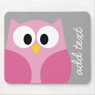 Cute Cartoon Owl - Pink and Gray Custom Name Mouse Pad