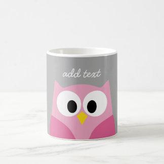 Cute Cartoon Owl - Pink and Gray Custom Name Coffee Mug
