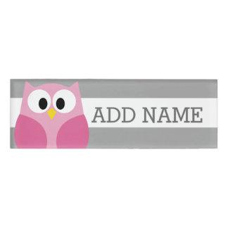 Cute Cartoon Owl - Pink and Gray Custom Name Name Tag