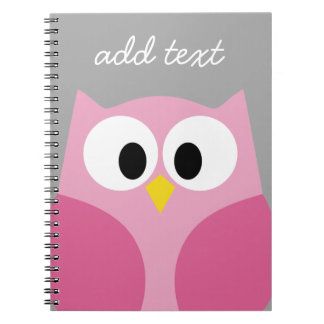 Cute Cartoon Owl - Pink and Gray Custom Name Notebook