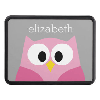 Cute Cartoon Owl - Pink and Gray Custom Name Trailer Hitch Cover
