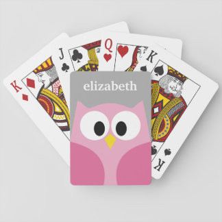 Cute Cartoon Owl - Pink and Gray Custom Name Playing Cards