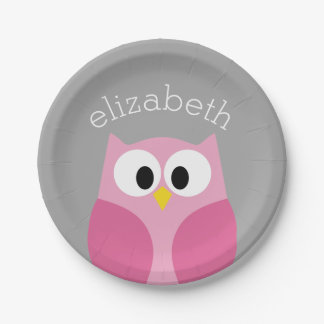 Cute Cartoon Owl - Pink and Gray Custom Name 7 Inch Paper Plate