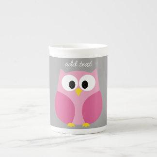 Cute Cartoon Owl - Pink and Gray Custom Name Tea Cup