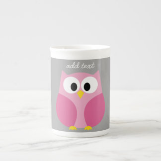 Cute Cartoon Owl - Pink and Gray Custom Name Tea Cup
