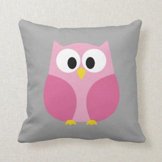 Cute Cartoon Owl - Pink and Gray Custom Name Throw Pillow