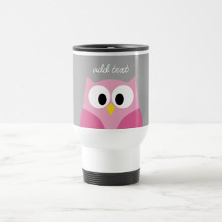 Cute Cartoon Owl - Pink and Gray Custom Name Travel Mug