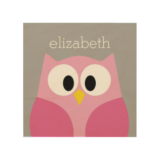 Cute Cartoon Owl - Pink and Gray Custom Name Wood Canvas