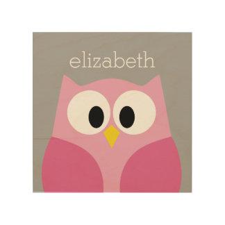 Cute Cartoon Owl - Pink and Gray Custom Name Wood Canvas